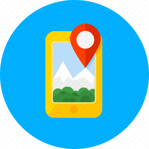 gps, location, map, mobile, mountains, navigation, smartphone icon