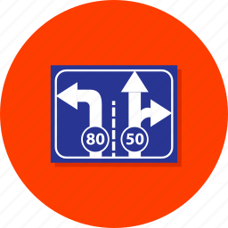 arrows, direction, left, road, road signs, signs, street icon