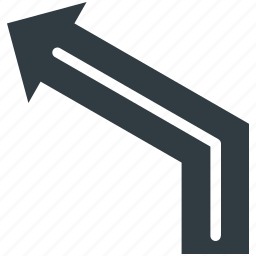 left curve sign, left direction, road direction, road sign, traffic sign icon