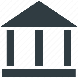 bank, bank building, court, courthouse, real estate icon