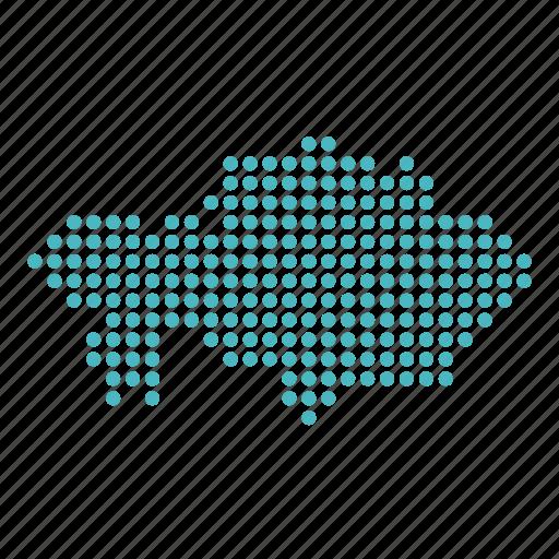 country, kaakh, kazakhstan, map icon