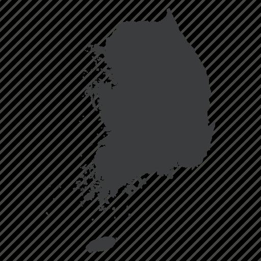 asian, country, korea, korean, map, navigation, south icon