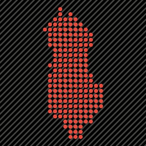 albania, albanian, country, map icon