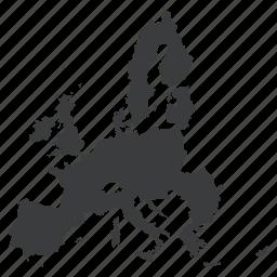 europe, european, gps, location, map, navigation, union icon