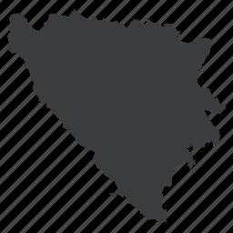 bosnia, country, european, herzegovina, location, map, navigation icon