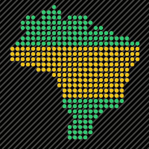 brazil, brazilian, country, map icon