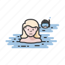 skinny dipping, snorkel, snorkeling, swim, swimming icon