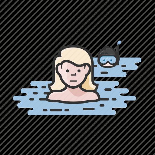 skinny dipping, snorkel, snorkeling, swim, swimming icon