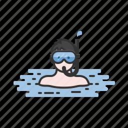 diving, snorkel, snorkeling, swim, swimming, vacation icon