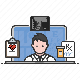 conference, doctor, medical, online, video, x-ray icon