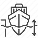 deep water, depth, interval, marine, port, sea freight, ship icon