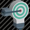 bulb, bullseye, focus, idea, innovative idea icon