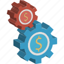 cogs, customize, dollar, gear, settings, setup, tools icon
