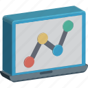analytics, business analysis, business graph, graph, laptop, online graph, statistics icon