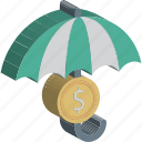 coins, financial, insurance, money protection, parasol, umbrella, wealth icon