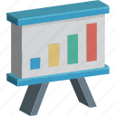 business presentation, chalkboard, easel, graph presentation, presentation icon