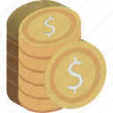cash, coins stack, currency coins, dollar coins, money