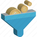 funnel, dollar, currency exchange, money filter, economy