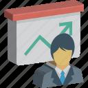 business presentation, graph, presentation, presentation board, whiteboard icon