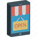 hanging sign, m commerce, mobile shopping, open sign, shop sign icon