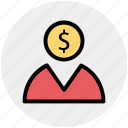 business, dollar, head, invertor, man, money icon
