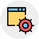 gear, options page, page, seo, setting gear, web icon