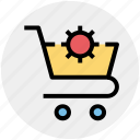 cart, cart gear, gear, setting, shopping icon