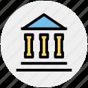 banking, building, columns, hostel, school icon