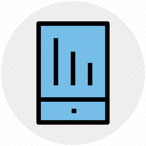 analytics, cell phone, graph, mobile, stats icon