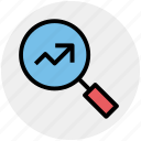graph, magnifier, magnifying glass, search, searching tool, zoom icon
