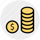 bank, banking, coins, dollar, marketing icon