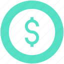 coin, dollar, dollar sign, money, money sign, sign