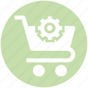 cart, cart gear, gear, setting, shopping icon