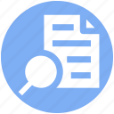 contract, document, paper, search, search file, sheet icon