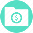 computer folder, document, dollar sign, file, folder, paper icon