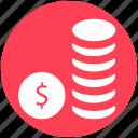 bank, banking, coins, dollar, marketing icon