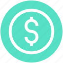 coin, dollar, dollar sign, money, money sign, sign icon
