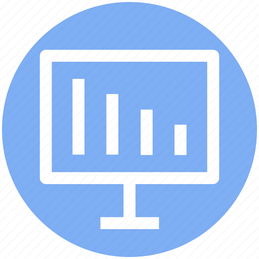 analytics, business, chart, computer, improving, statistics icon