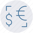 american, conversion, currency, dollar, euro, money icon