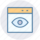 browser, computer page, eye, page, visibility, web icon