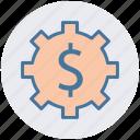dollar, economics, gear, making, money icon