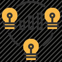 analytic, brainstorm, graph, market icon