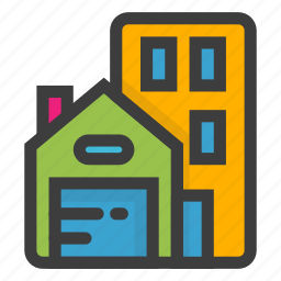building, business, estate, home, house, office, real icon