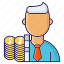 costs, economics, employee, money, payment icon