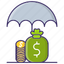 business, economics, funds, protection, umbrella icon