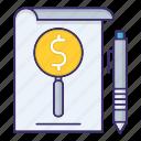 economics, invoice, money, paper, report icon
