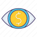 currency, economics, eye, market, vision icon