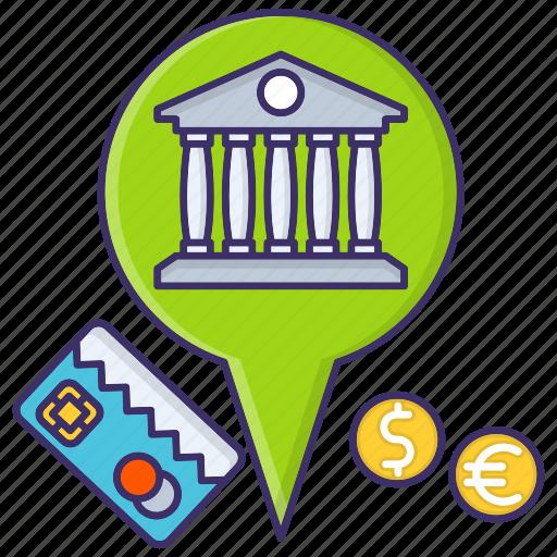 bank, economics, location, money, pointer icon