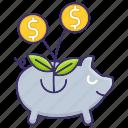 banking, economics, funds, raising, savings icon