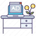 advertisement, desk, economics, investment, online, sponsor icon